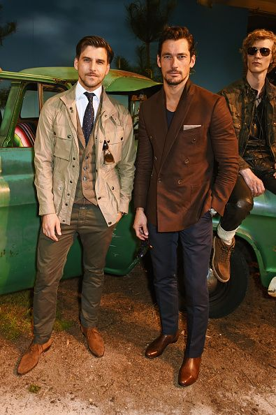 Johannes Huebl and David Gandy attend the Belstaff presentation during The London Collections Men SS17 at QEII Centre on June 12 2016 in London...