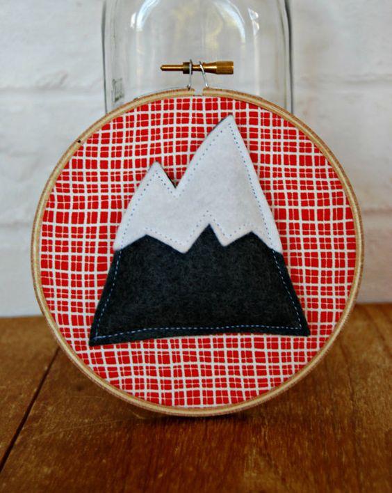 3D Mountain mini embroidery hoop art 4 inch by littlebitdesignshop