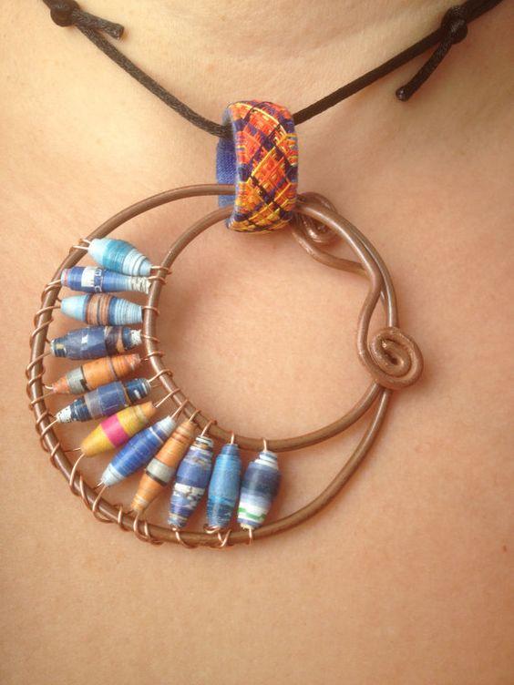 Orange & blue Copper pendant with Yubinuki and by kingstreasure, $60.00