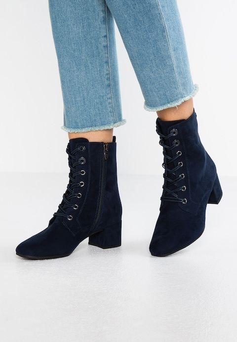 Tamaris Botki Sznurowane Navy Sztuczne Ankle Boot Boots Shoes