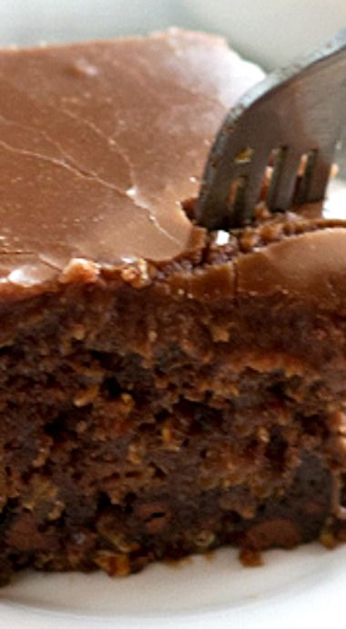 The World's Best Chocolate Oatmeal Cake ~ Lightly chocolatey, super moist, studded with chocolate chips, and topped with an old fashioned chocolte marshmallow frosting
