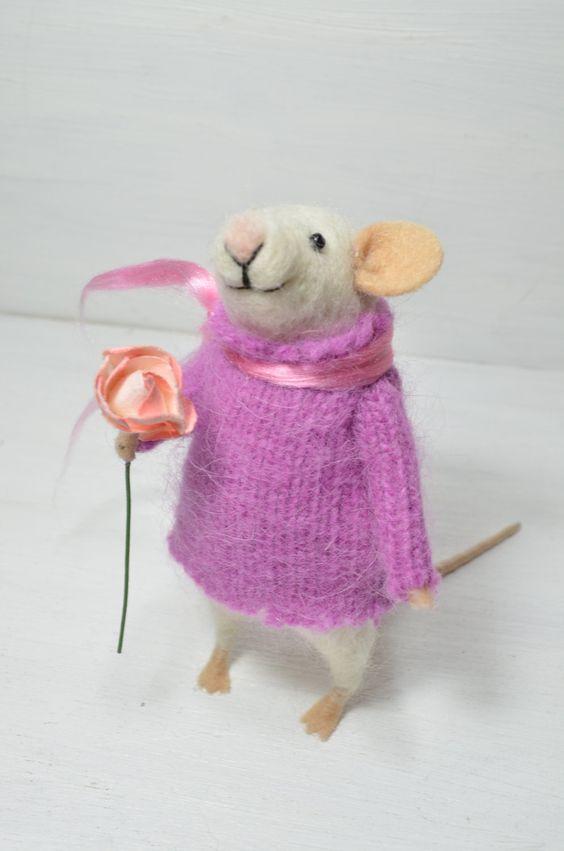 Cocket Little Mouse - unique - needle felted ornament animal, felting dreams by johana molina. $68.00, via Etsy.