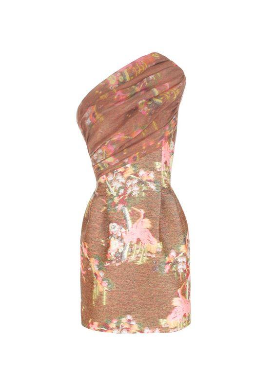 Matthew Williamson Neon Blossom Weave Asymmetric Dress