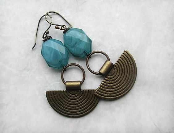 Long Brass Earrings, Boho Earrings, Blue Earrings