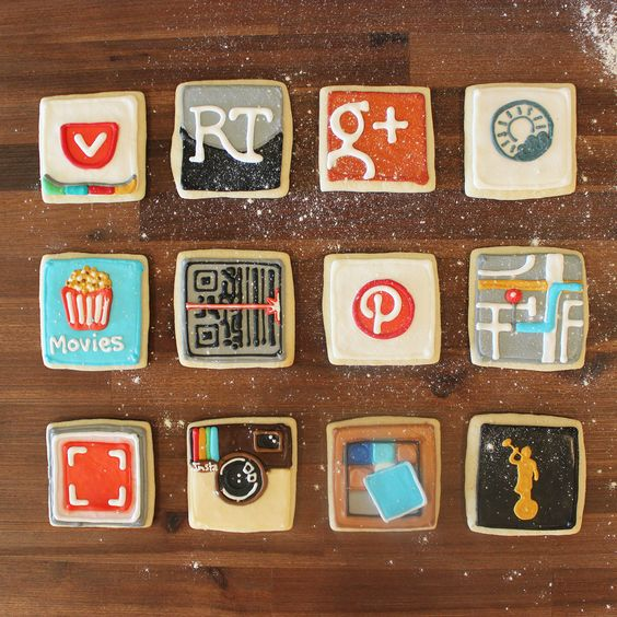iOS App Icon Cookies. (They made a Pocket cookie. Amazing!)
