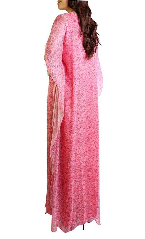 Lace Print Kaftan Dress in Fuchsia and White - Kaftans - Women | FashionValet