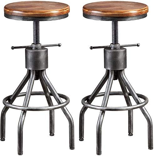 Buy Lokkhan Vintage Industrial Bar Stool Height Adjustable Round Wood Metal Swivel Bar Stool Cast Iron Pub Height Stool Assembly Not Required 23 4 33 Inch Set In 2020 Industrial Bar Stools Bar Stools Swivel Bar Stools