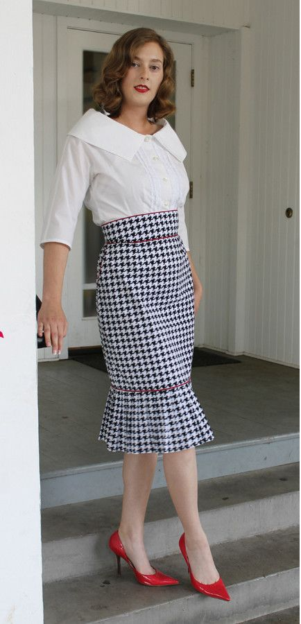 Paper sewing pattern to make a stunning high waisted pencil skirt with boning…