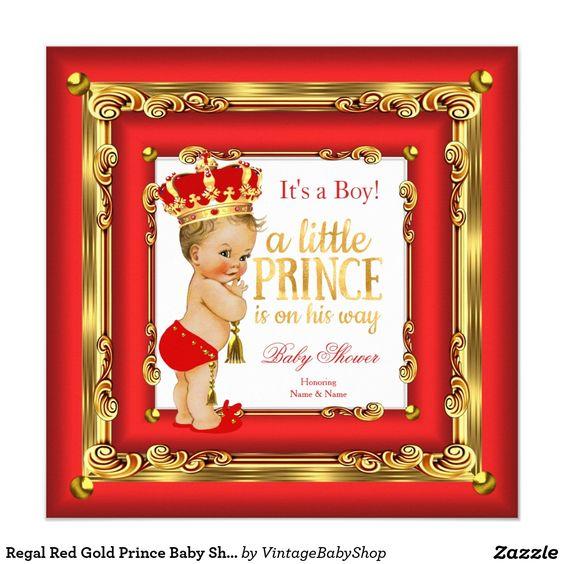 Regal Red Gold Prince Baby Shower Blonde Boy Invitation