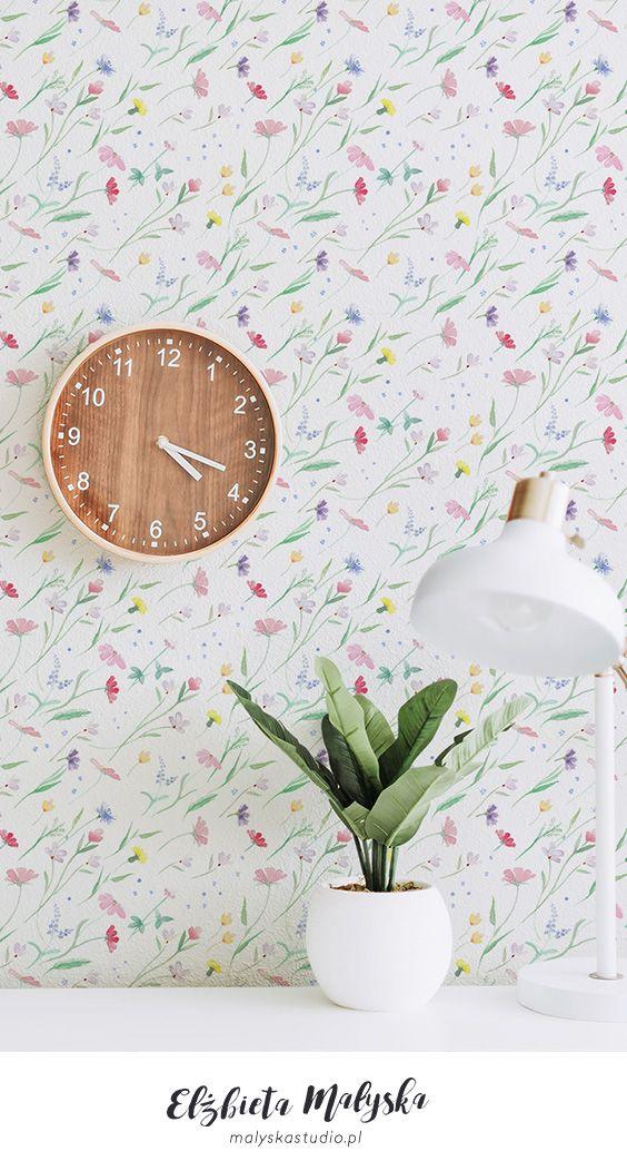 Wild Blowing Flowers Wallpaper Design Watercolor Wallpaper Lit Wallpaper Watercolor Pattern Design