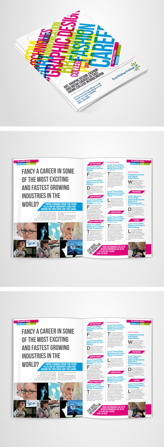 """Nice brochure advertising a UK design college by Chris Burkill. Love the way he's included so many nice """"designery"""" elements :D"""