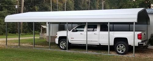 18x41 Vertical Style Metal Carport Alan S Factory Outlet In 2020 Metal Carports Custom Metal Buildings Steel Carports