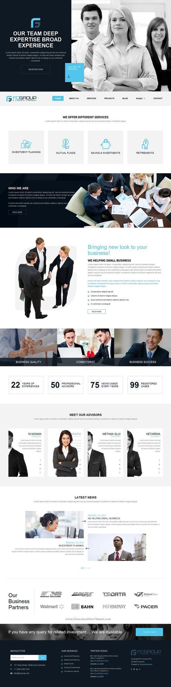 Finance Group is a custom design minimal Bootstrap HTML5 #Template for advisor, attorney, business or #corporate #website. Download Now!