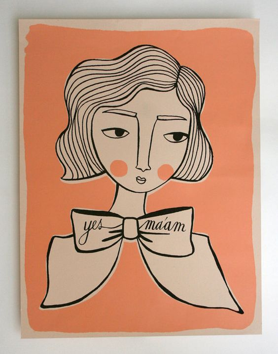 screenprinted poster: girl with bow by hollandsworth $25