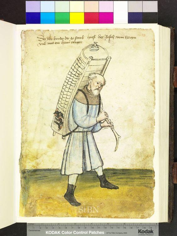 Poulterer carrying his chickens, Germany 1425 Die Hausbücher der Nürnberger Zwölfbrüderstiftungen