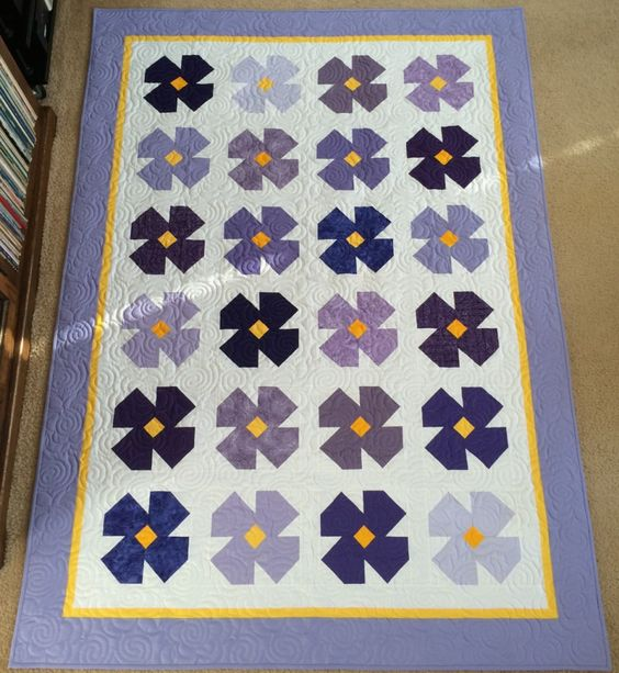 African Violet Quilt Block Directions Beautiful quilts Pinterest Quilt, Flower and Africans