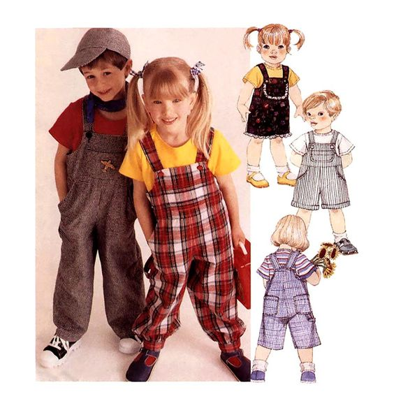 534 McCalls 8592 Childs 2 Hour Overalls in 3 Lengths, Boys & Girls size Small 2 to 4 Easy Sewing Pattern Uncut by ladydiamond46 on Etsy