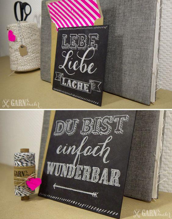 Mini chalkboard typography/calligraphy with fitting kraftpaper envelopes / Mini Kreidetafeln mit passenden Kraftpapierumschlägen
