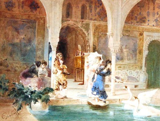 746 - Cesare Provaggi - Feeding the swans, watercolour