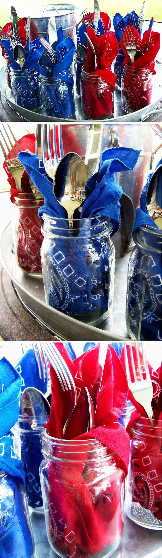 Patriotic Bandana Mason Jars ~ LOVE this idea! Everyone will have their own jar with a red, white or blue bandana napkin and silverware. Then they can fill up their mason jar with ice from the bucket and enjoy iced tea or lemonade. Perfect for Memorial Day and the 4th of July! | diy summer party entertaining idea