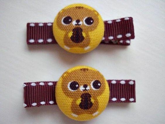 SALETAKE  15 OFF Sweet Kawaii Hairclips Cute by Sillysockmonkeys, $6.00