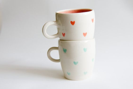 Coral and Mint Ceramic Mugs SET OF TWO Heart Design by RossLab