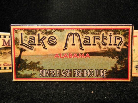 Nostalgic Lake Martin Fishing Lure Boxes decorations.