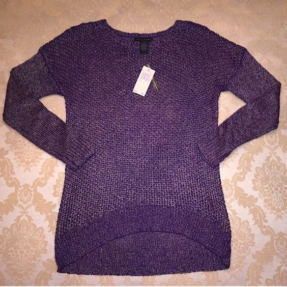⚡️SALE⚡️ NWT $70 purple metallic sweater small S NWT. Brand is Grace Elements. Dark plum with slight metallic finish. Crochet with tighter knit sleeves. Crew neck. Size small. Slightly oversized and relaxed fit. ⚡FLASH SALE - LIMITED TIME ONLY (select items apply)⚡️ +10% bundle discount! Grace Elements Sweaters Crew & Scoop Necks