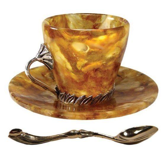 antique Russian amber tea set
