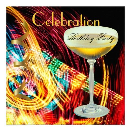 Colorful Birthday Party Celebration Champagne Invitation