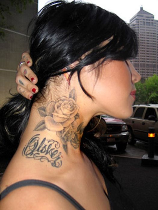 female neck tattoos neck flower tattoos for women love this pinterest for women sisters. Black Bedroom Furniture Sets. Home Design Ideas