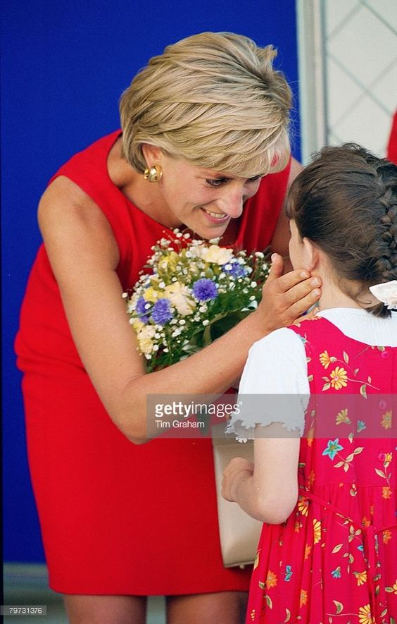 JULY 21 1997: Diana, Princess of Wales being presented with a bouquet of flowers on her visit to Northwick Park and St Mark's Hospital in Harrow to lay the foundation stone for the new Children's Ambulatory Care Centre