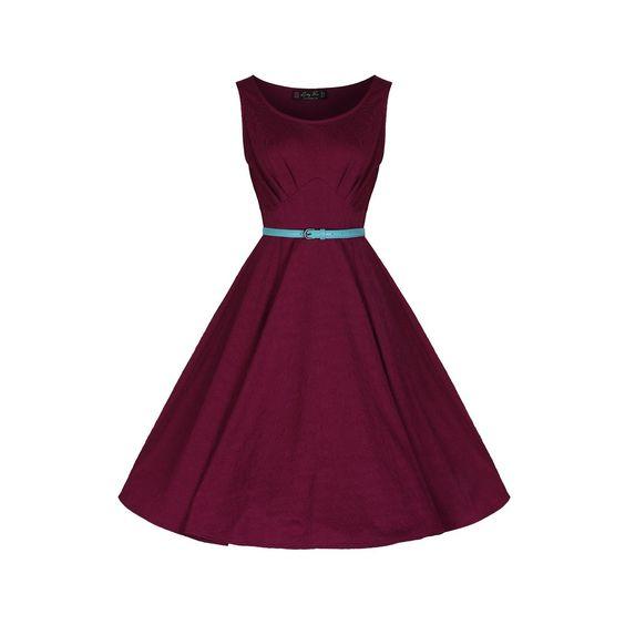 Geraldine Plum Jersey Dress | Vintage Inspired Fashion - Lindy Bop