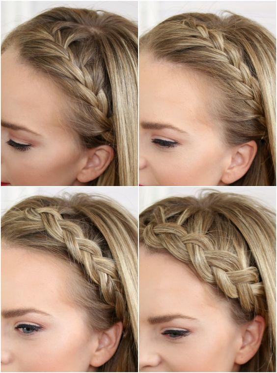 Four Headband Braids is a tutorial that will teach you how to do a French Braid Headband, Lace Braid Headband, Dutch Braid Headband, and Half Dutch Braid Headband.