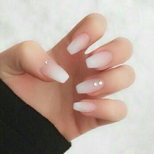 White Tip Coffin With Simple Rinstone Acrylicnails Neutral Nails Acrylic Diamond Nails Coffin Nails Designs