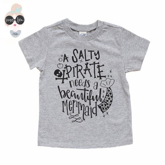 "Your trendy little one will play in style with this playful and funny t-shirt created just for him. Featuring the phrase, ""A Salty Pirate needs a Beautiful Merm"