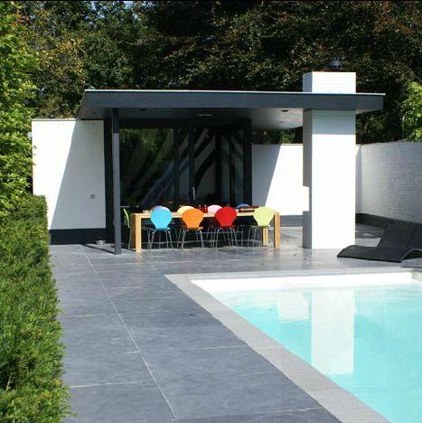 Strak en luxe tuinhuis overkapping met haard bijgebouwen overkappingen pinterest met - Deco moderne open haard ...