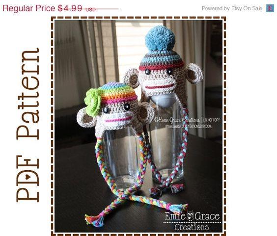 ON SALE Crochet Sock Monkey Hat Pattern Ear by EmieGraceCreations