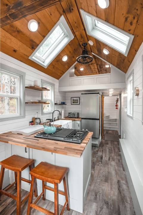 The Green Mountain Tiny House Tiny Houses For Rent In Jamaica Vermont United States Tiny House Kitchen Tiny House Bathroom Tiny House Interior