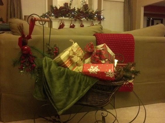 Antique sleigh decor