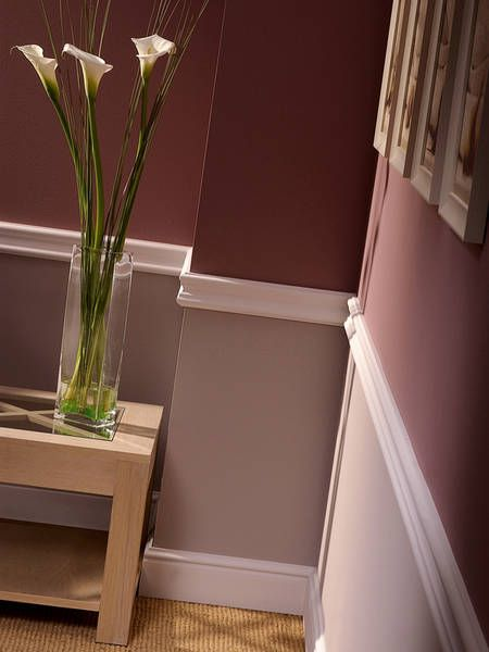 Chair rail paint idea wine color on the bottom in a fau for Dining room paint ideas 2 colors
