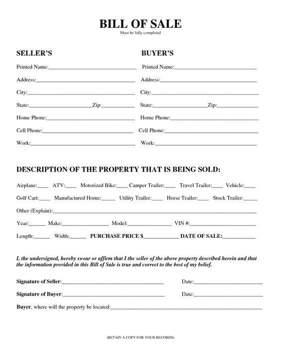 motorcycle bill of sale form pdf