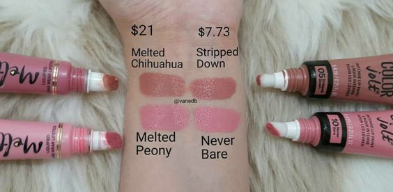 Too Faced Melted Liquified Long Wear Lipsticks in Melted Chihuahua and Melted Peony vs. Maybelline Color Jolt Intense Lip Paints in Stripped Down and Never Bare
