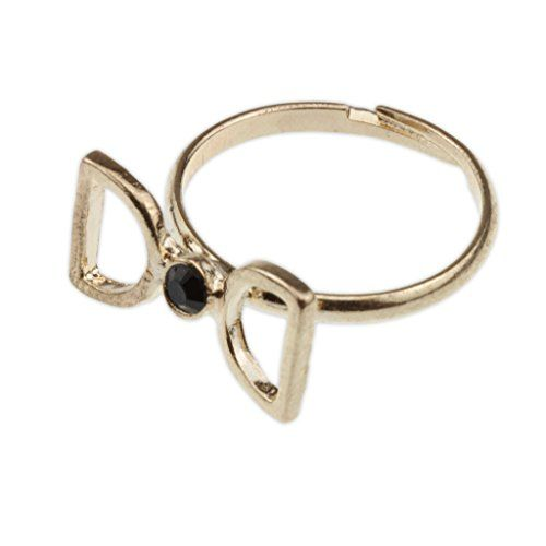 Adorable Gold Bow Black Stone Adjustable Ring  Fashion Jewelry Accessories for Women Girls Teen Girls *** More info could be found at the image url.