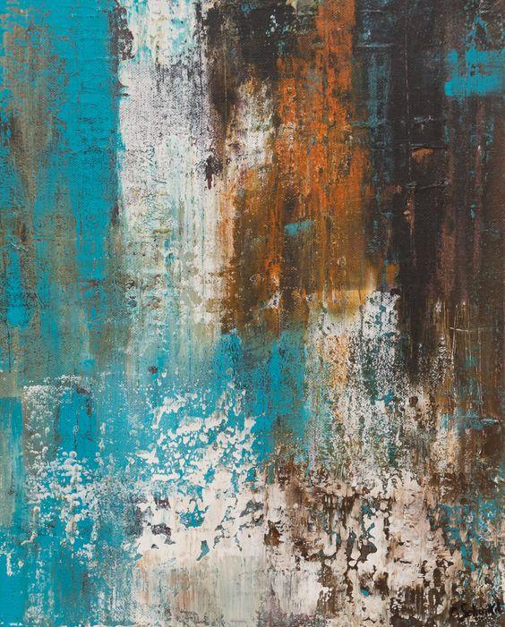 Tableau moderne acrylique et mati re ecume de rouille for Peinture couleur rouille