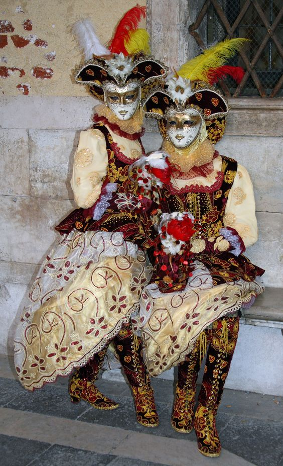 Colorful couple in red,yellow and white with the greatest boots ever at the 2010 Carnival of Venice~ Frank Kovalchek ~ Flickr - Photo Sharing!