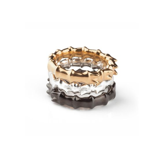 An elegant stacking ring available in silver, gold plated silver or black rhodium plated silver.
