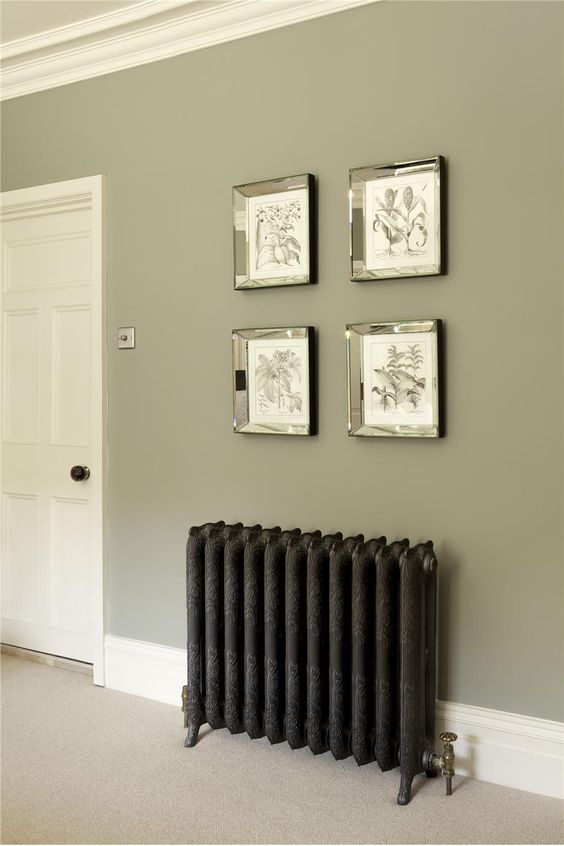Farrow & Ball Inspiration and cast iron radiators.  Talk to Simply Radiators for more info. Change out to these radiators in all the rooms & this wall color for parlour