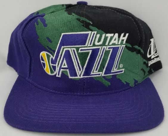 Utah Jazz Vintage Snapback Logo Athletic Splash Hat NBA Cap RARE Starter Logo7