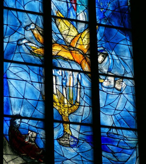 The blue glass windows by Marc Chagall. St Stephan, a catholic church, in Mainz.